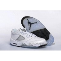 2017 Girls Air Jordan 5 Low White/Black-Wolf Grey For Sale